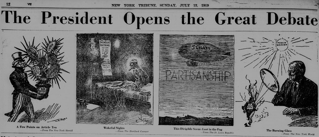 The-President-Opens-the-Great-Debate-cropped-New-York-Tribune-1919-07-18-various-viewpoints-1024x442